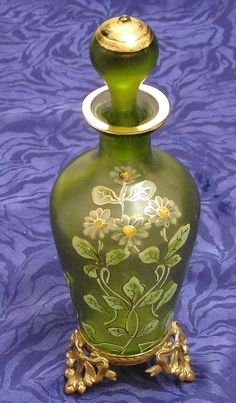 RARE Victorian Antique Perfume SCENT Bottle Lid Signed 23 Gold Gild Feet. French