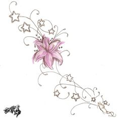 DeviantArt: More Like Lily Tattoo by meripihka Star Tattoo Designs, Design Tattoo, Flower Tattoo Designs, Flower Tattoos, Tattoos Skull, Star Tattoos, Foot Tattoos, Tribal Tattoos, Brown Tattoos