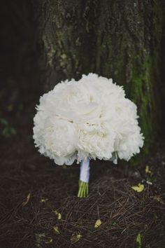 White peony bouquet. Sophisticated Summer Wedding at Historic Cedarwood