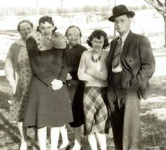 My Father (right) and Mother (2nd from left) in this photo from 1940. My Aunt Elsie (far left), Grandmother Nana (mom's mother) and an unidentified cousin. (Four years before my birth).