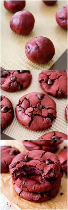 Soft-baked red velvet chocolate chip cookie recipe made from scratch! sallysbakingaddiction.com