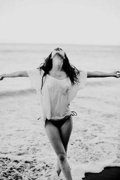 beach, black & white, freedom, girl