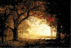 Cross Stitch Pattern - Forest Sunrise Counted Cross Stitch Chart PDF by Abracraftdabra