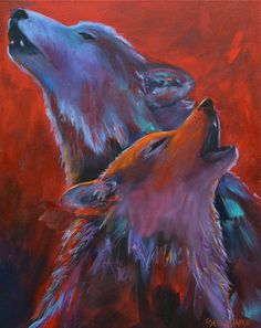 Red Dusk- Abstract wolf painting. $225.00, via Etsy.