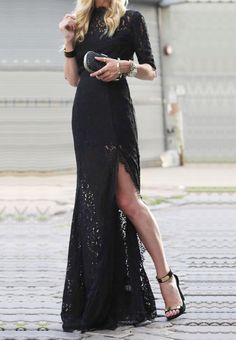 Morpheus Boutique  - Black Lace Long Sleeve Celebrity Long Dress, CA$118.22 (http://www.morpheusboutique.com/new-arrivals/black-lace-long-sleeve-celebrity-long-dress/)