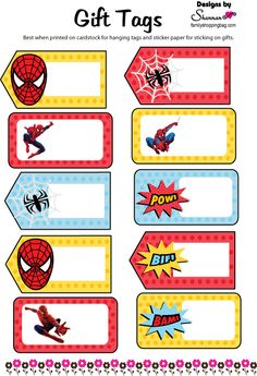 Spiderman printables including invitations, coloring pages and Superhero Name Tags, Superhero Gifts, Birthday Tags, Superhero Birthday Party, Name Tag For School, Spiderman Theme, Spiderman Stickers, School Labels, Free Printable Gift Tags