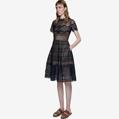 High-end custom  style 2017 summer Runway Designer Women's Luxury  Short Sleeve Lace sexy club hollow out Dress