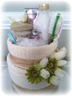 Spa Towel Cakes by NicasOccasionGifts on Etsy, $45.00