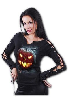 Carving Death - Laceup Slee... Gothic Tops, Dark Fashion, Black Tops, Lace Up, Graphic Sweatshirt, Carving, Fashion Outfits, Halloween Horror, Dark Fantasy