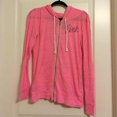 """Pink zip up sweatshirt Pink zip up sweatshirt. Lightweight. Says """"pink"""" on front of sweatshirt PINK Victoria's Secret Tops Sweatshirts & Hoodies"""