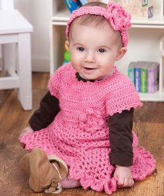 Little Sweetie Dress Free Crochet Pattern using Red Heart Soft Baby Steps yarn.  #crochet