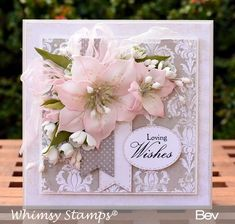 "Whimsy Shapeology Die Collection ""Lily Flower Die Set"" designed by Bev Rochester for Whimsy Stamps. Shabby Chic Karten, Shabby Chic Cards, Flower Cards, Paper Flowers, Birthday Cards For Women, Female Birthday Cards, Whimsy Stamps, Affinity Designer, Vintage Flowers"