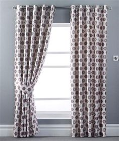 Ring Top Eyelet Ready Made Curtains Aubergine Bedroom 46 x 90 Floral Faux Silk