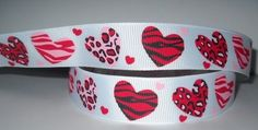 "GROSGRAIN 7/8"" VALENTINE'S DAY RIBBON 1 YARD A1z--B2P"