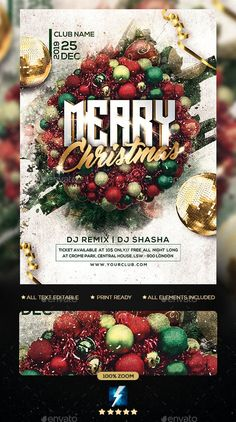 Buy Christmas Party Flyer by sparkg on GraphicRiver. Christmas Party Flyer It's unique flyers, poster design for your business Advertisement purpose. All Elements are in . Christmas Flyer Template, Flyer Maker, Club Design, Club Parties, Party Flyer, Christmas Design, Flyer Design, Christmas Wreaths, Graphic Design