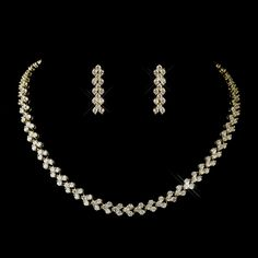 Gold Clear Necklace 2026 & Earrings 2024 Bridal Jewelry Set