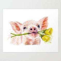 Piglet + Roses Art Print by halezbadenhop Cow Painting, Painting Prints, Painting & Drawing, Art Prints, Pig Drawing, Animal Paintings, Animal Drawings, Watercolor Animals, Watercolor Art