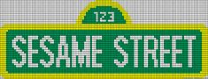 Sesame Street sign pattern / chart for cross stitch, crochet, knitting, knotting, beading, weaving, pixel art, and other crafting projects.