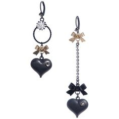 Betsey Johnson Heart Bow Mismatch Earrings ($35) ❤ liked on Polyvore featuring jewelry, earrings, black gold, betsey johnson earrings, gothic jewelry, bow jewelry, goth jewelry and bubble jewelry