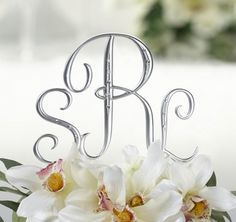 Silver Monogram Wedding Cake Topper Initials Set of 3 with Crystals Letter Cake Toppers, Monogram Cake Toppers, Wedding Cake With Initials, Monogram Wedding, Wedding Monograms, Wedding Cake Toppers, Wedding Cakes, Cake Lettering, Lillian Rose