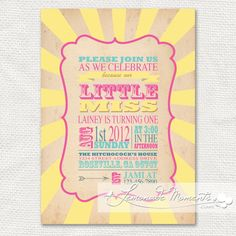 Little Miss Sunshine Invitation Printable for by LemonadeMoments, $20.00