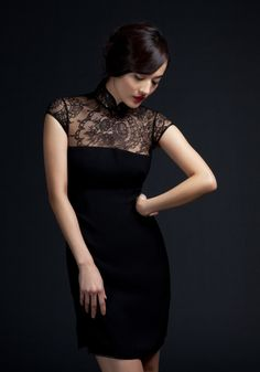 Shanghai Tang Imperial Tailoring: Short Black Lace Qi Pao- I love the lines on this piece, the lace is perfect Oriental Dress, Oriental Fashion, Asian Fashion, Cheongsam Modern, Shanghai Tang, Short Dresses, Formal Dresses, Evening Dresses, Mode Chic
