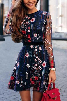 2019 Women Vintage Floral Embroidery Sheer Mesh Dress Summer Boho Mini Dress See-through Black Dress 2019 Vestidos De Festa Boho Mini Dress, Mini Dress With Sleeves, Mini Skirt, Bohemian Dress Long, Bohemian Outfit, Long Sleeve Short Dress, Bohemian Summer, Bohemian Gypsy, Vestidos Vintage