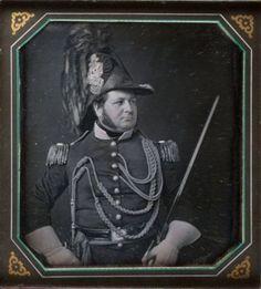 ca. 1846, [daguerreotype portrait of a Pennsylvania militia man in full uniform], Marcus Aurelius Root  via the Library Company of Philadelphia Print Dept., Cased Photographs Collection