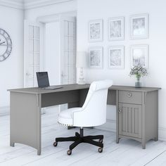 Salinas L Shaped Desk with Storage in Cape Cod Gray - Bush Furniture your home office space comfortable, functional and beautiful with the Bush Furniture Salinas L Shaped Desk with Storage. Home Office Space, Home Office Design, Home Office Decor, Home Decor, Office Ideas, Office Inspo, Office Desks For Home, Office Setup, Office Furniture Stores