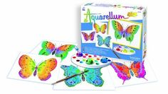 "Sentosphere Aquarellum - Butterflies by SentoSphere. $19.95. 1 pallet used to mix and create colors. 4 different Butterfly themed ready to paint ""magic canvases"". 1 high quality paint brush. 5 non-toxic water colors. Designed for ages 5 years and older. These easy to use sets feature a distinct and unique method that makes painting-by-numbers obsolete. The painter has complete control. Unique embossed picture cards absorb paint in some areas and repels it in others - ..."