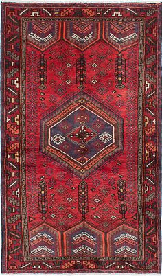 """A 3'11"""" x 6'7"""" Vintage 1970's Persian Hamadan Red and Navy - Rug"""