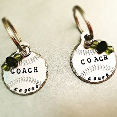 SaLe FREE colored stones add on option! Coach's Gift Personalized Baseball or Softball Keychain~ by TinyTrinketShop on Etsy