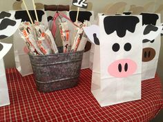 Cow birthday party favors! See more party planning ideas at CatchMyParty.com!