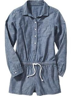 Girls Chambray Rompers