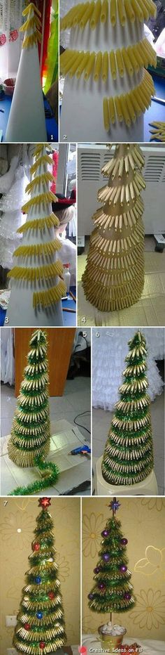ideas pasta art projects christmas trees for 2019 Christmas Tree Dyi, Alternative Christmas Tree, Christmas Gift Decorations, Christmas Makes, Christmas Bulbs, Holiday Decor, Christmas Ideas, Fun Projects For Kids, Christmas Craft Projects