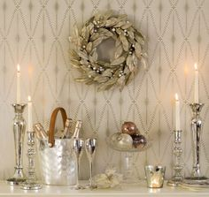 This wallpaper is a beautiful background for this lovely silver & gold Christmas vignette❣