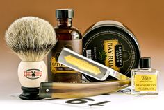 Shaving Set, Shaving Brush, Wet Shaving, Shaving Cream, The Razors Edge, Vintage Vignettes, Bay Rum, American Art