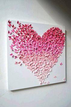 vlinders vormen een hart (op canvas geplakt) Door Ploink