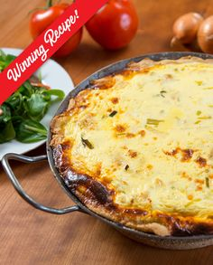 PILCHARD QUICHE | OK Foods Pastry Shells, Pie Plate, Side Salad, Cheddar Cheese, Tuna, Quiche, Crisp, Good Food, Rolls