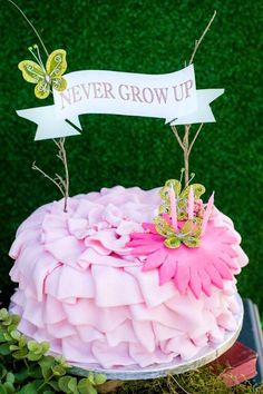 Cake from a Robin Hood & Tinker Bell Enchanted Forest Birthday Party via Kara's Party Ideas!