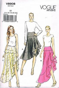 V8908 Misses' Easy Flounced Skirt Sewing Pattern Size 14 22 Uncut | eBay