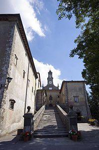 Santuario di Monte Senario - scalinata con il Torrino. Vaglia ( Firenze ). Il convento fu eretto nel 1234 da sette nobili fiorentini, fondatori dell'ordine dei Servi di Maria, e perciò detti i Sette santi fondatori; fu ampliato nel XV secolo, e di nuovo nel 1594 dal granduca Ferdinando I, per essere poi in parte modificato nel XVIII e nel XIX secolo.