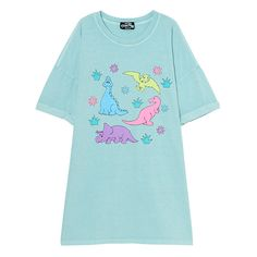 FUNNY DINOSAUR BIG BIG TEE ❤ liked on Polyvore featuring tops, t-shirts, blue t shirt, blue top and blue tee