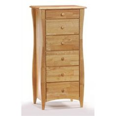 Enjoy being pampered when you add this must-have lingerie chest to your bedroom. This tall and narrow chest will fit in most closets or dressing areas. Or, place it next to your dresser. Its beautiful, natural finish allows the wood grain to show through. Six drawers.   www.ambroseni.com