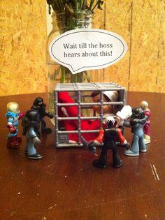 Elf on the Shelf idea - Elf captured (love the tag line)