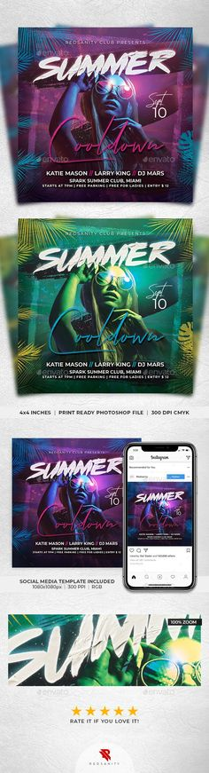 Buy Summer Cooldown Flyer by Redsanity on GraphicRiver. Features Very easy to edit Photoshop template. Elements labeled in an organized folders. All text editable. Psd Flyer Templates, Print Templates, Flyer Free, Flyer Design Inspiration, Image Model, Event Flyers, Social Media Template, Party Flyer, Web Banner