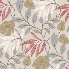 "Brewster Home Fashions Simple Space II Eden Modern Leaf Trail 33' x 20.5"" Floral 3D Embossed Wallpaper & Reviews | Wayfair"