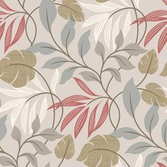 "Brewster Home Fashions Simple Space II Eden Modern Leaf Trail 33' x 20.5"" Floral 3D Embossed Wallpaper & Reviews 