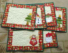 Christmas Mats By Jogo Americano Natal @Tony Gebely Wang: There's an idea. Table mats for Christmas. I'd do something red and white but this is the idea.