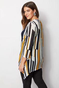 Yours Clothing Women/'s Plus Taille collection limitée Fluo Rayure sur les côtés Sweat